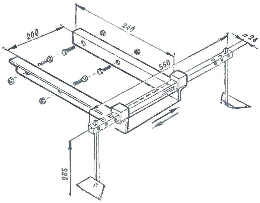 Рис. 3. Агрегат для прореживания свеклы (для одноколесного) варианта «Золушки»).