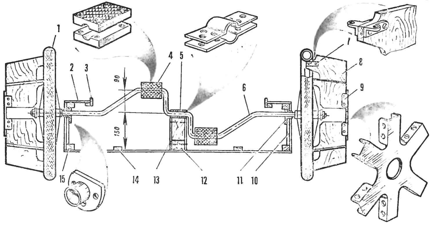 Рис. 3. Устройство переднего моста амфибии