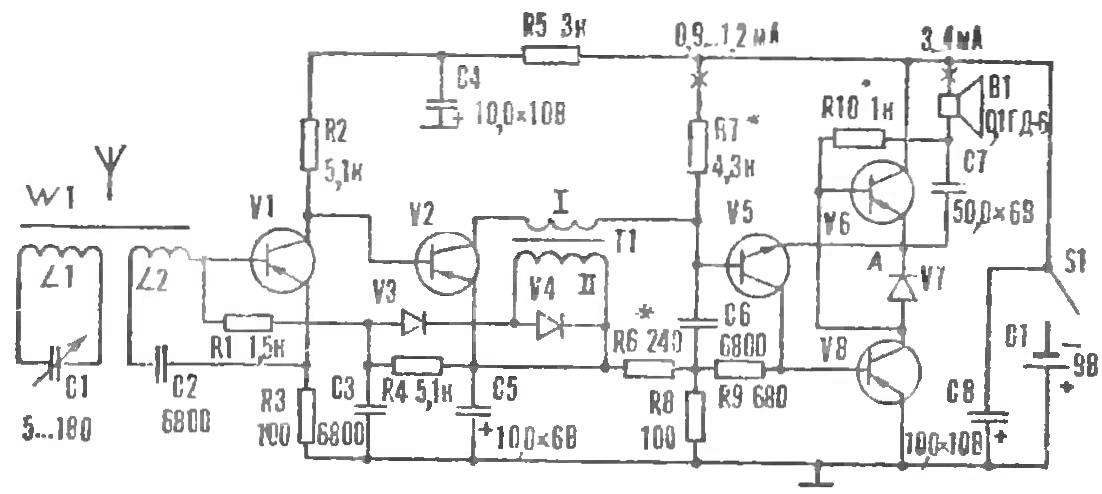 Рис. 9. Схема рефлексного радиоприемника