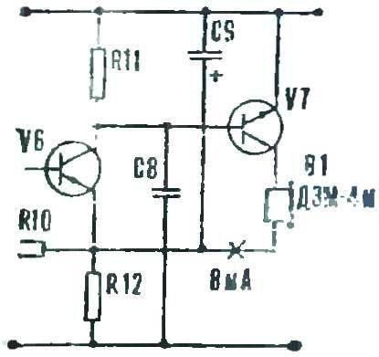 Рис. 7. Схема подключения капсюля ДЭМ-4м.