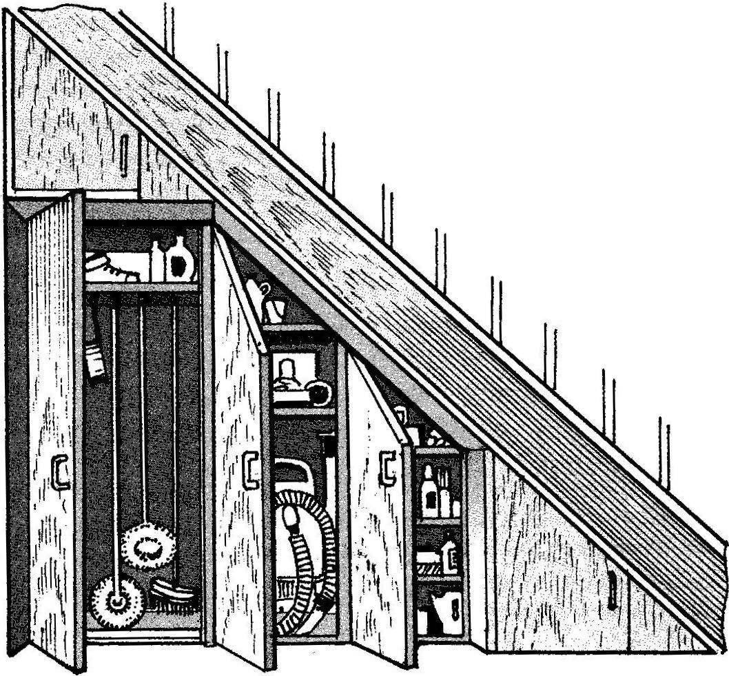Рис. 5. Вещевой уголок с закрытыми секциями.