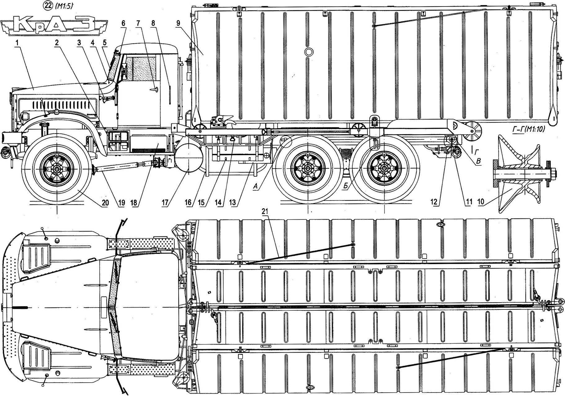 Понтонный автомобиль на шасси КрАЗ-255Б с речным звеном понтонно-мостового парка ПМП