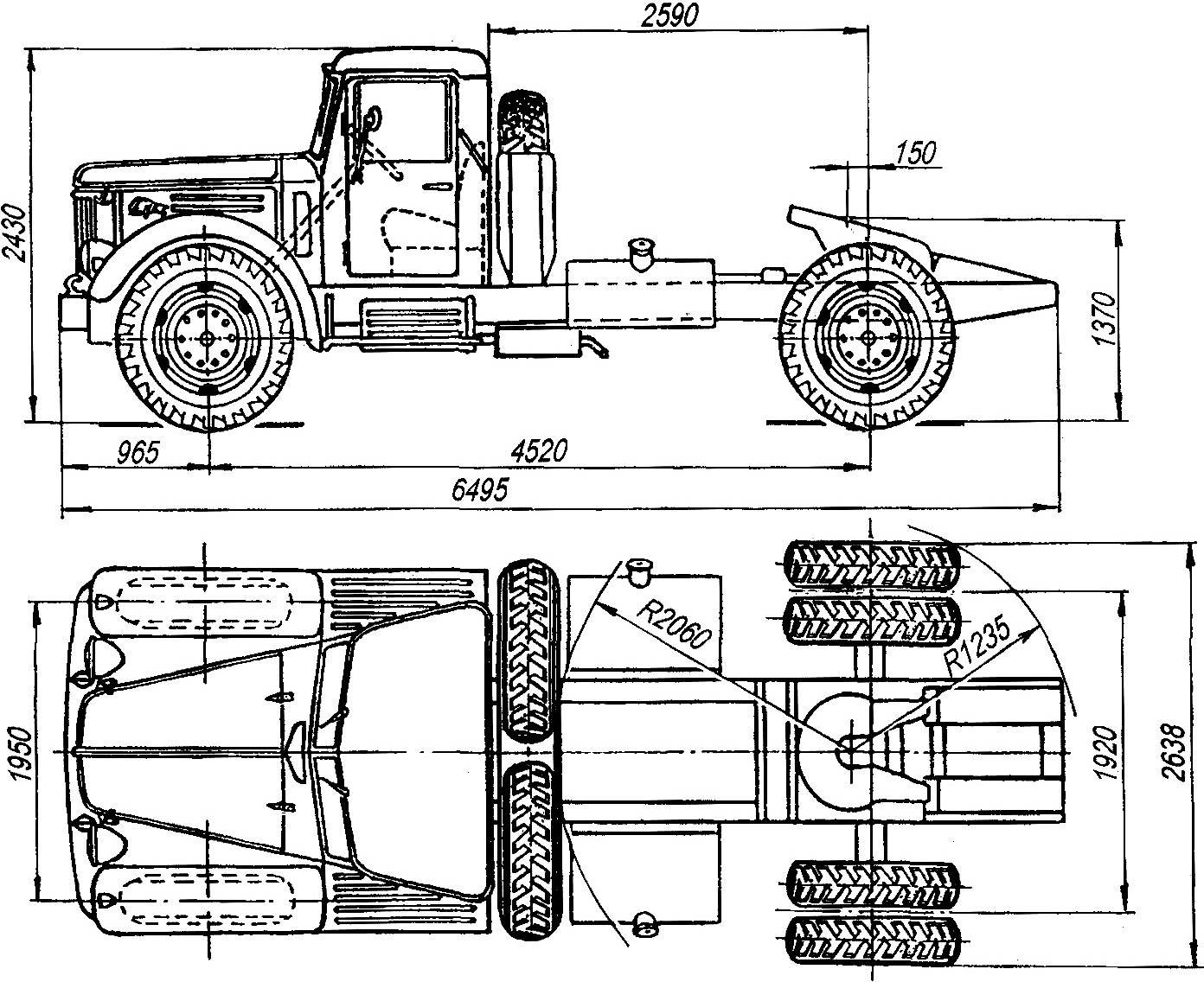 Геометрическая схема седельного тягача МАЗ-200В выпуска 1952 года