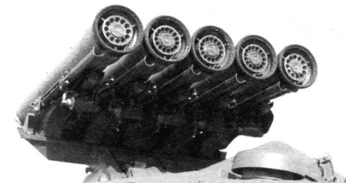 Пусковая установка с пятью направляющими и размещёнными на них ракетами 9М113 «Конкурс»