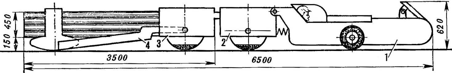 Рис. 4. Шахтный поезд на основе католета: тягач и тележка.