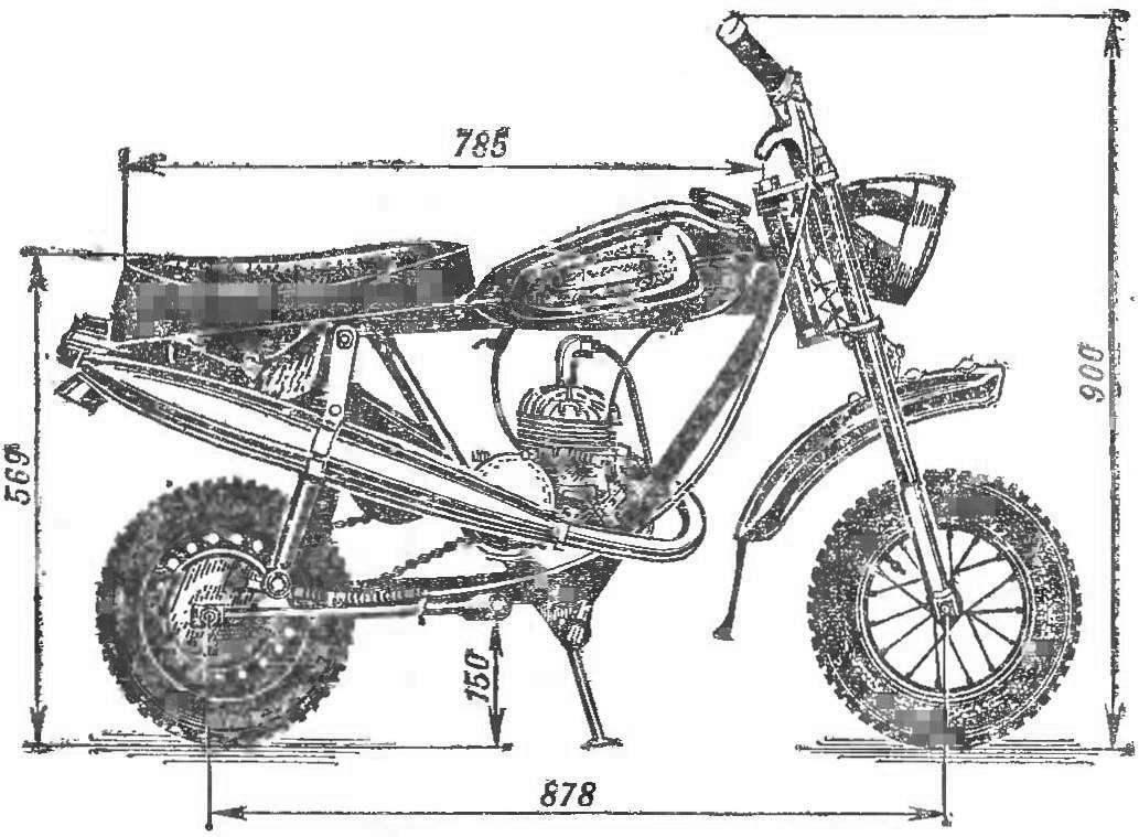 Рис. 1. Общий вид микромотоцикла.
