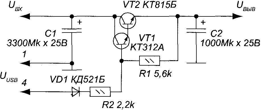 Принципиальная электрическая схема автоматического включения аудиоколонок для ПК одновременно с включением системного блока