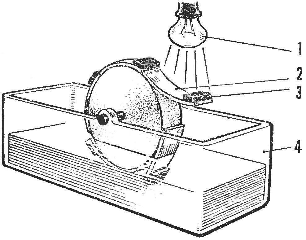 Рис. 6. «Вечный двигатель», работающий под действием световых лучей