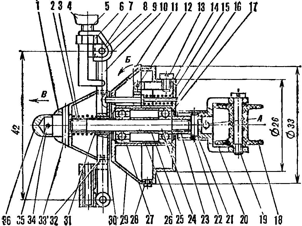 Рис. 1. Носовая бобышка резиномоторной модели