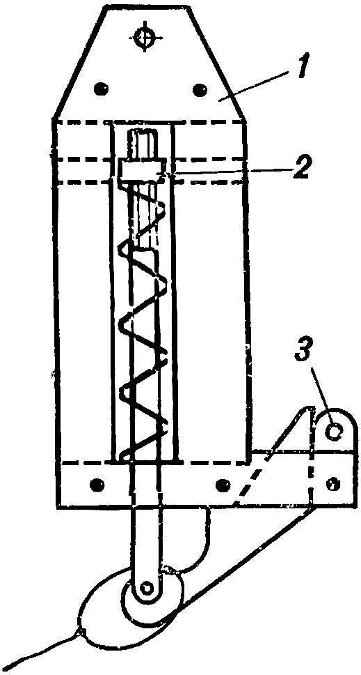 Рис. 2. Схема автоматического буксировочного приспособления (плоский вариант)