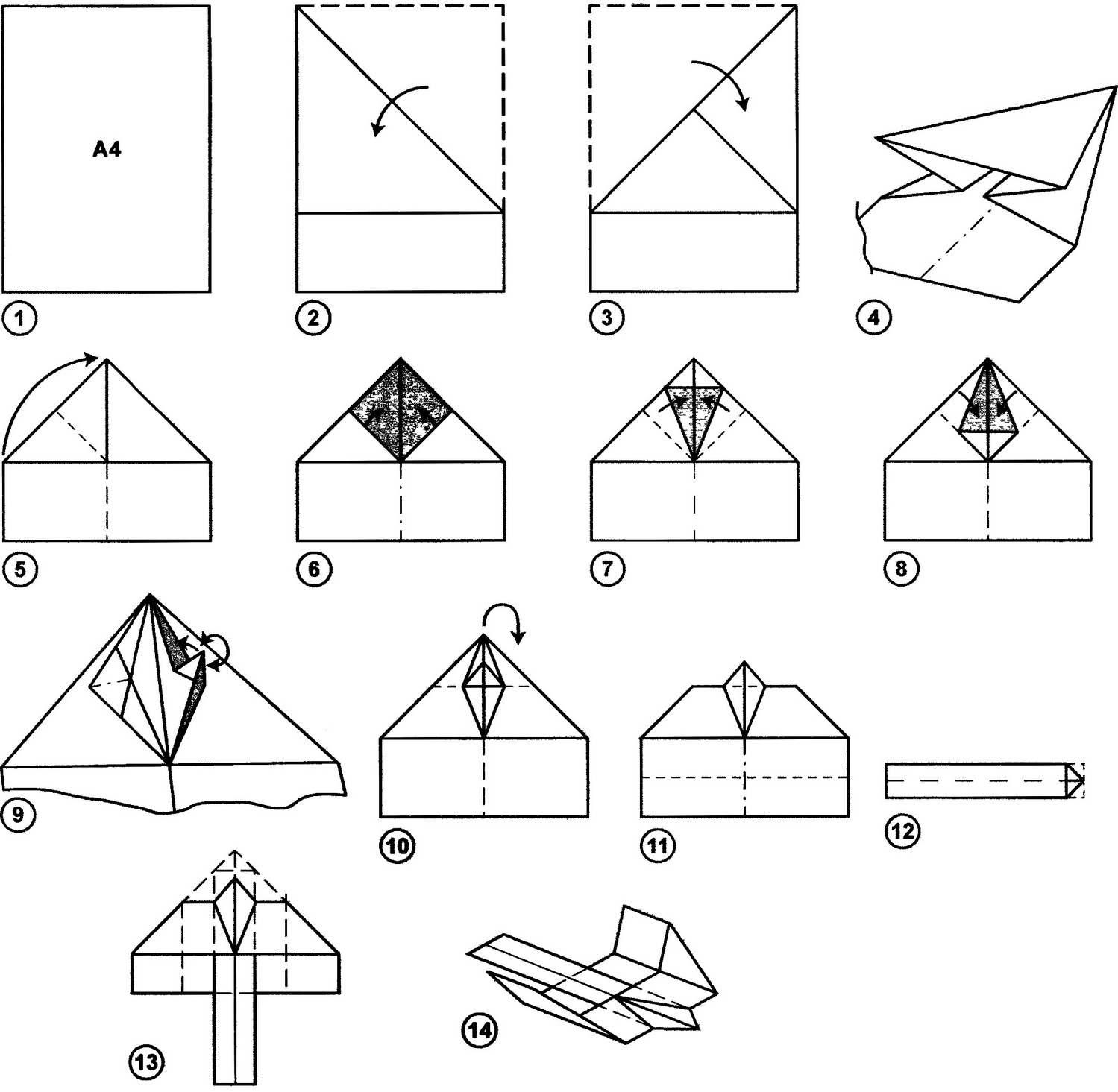 Последовательность изготовления бумажного голубя из одного листа.