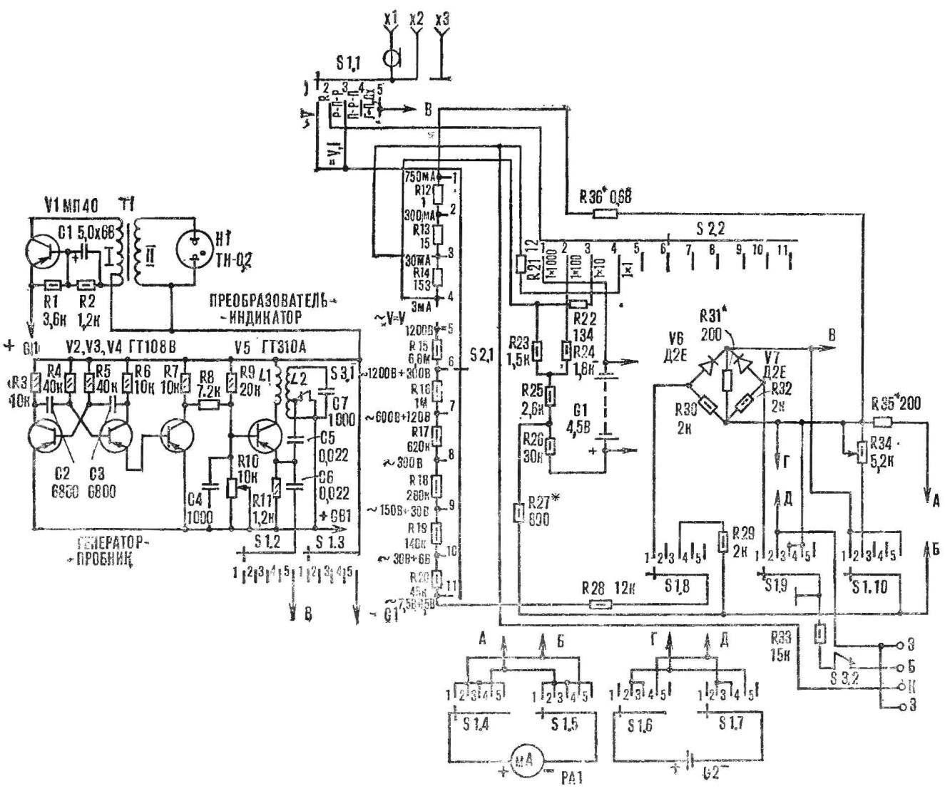 Рис. 1. Принципиальная схема комбинированного прибора.