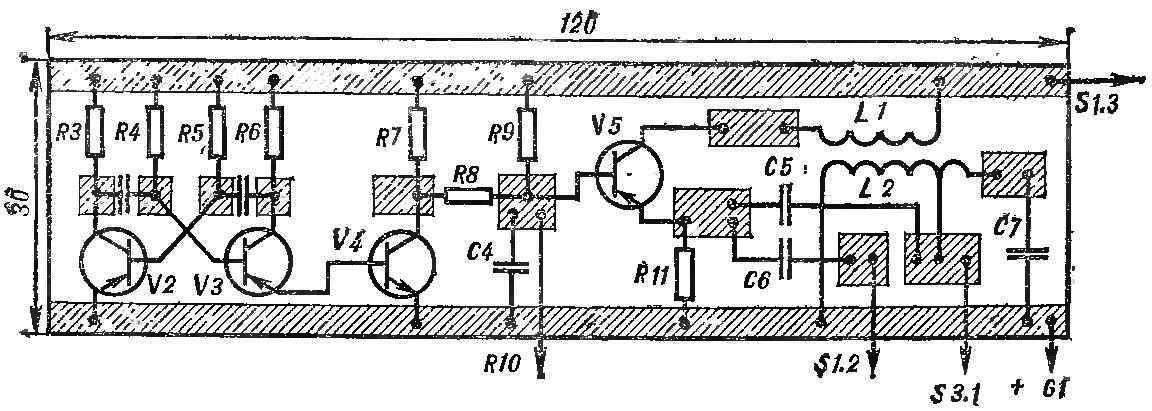 Рис. 5. Печатная плата генератора-пробника с расположением деталей.