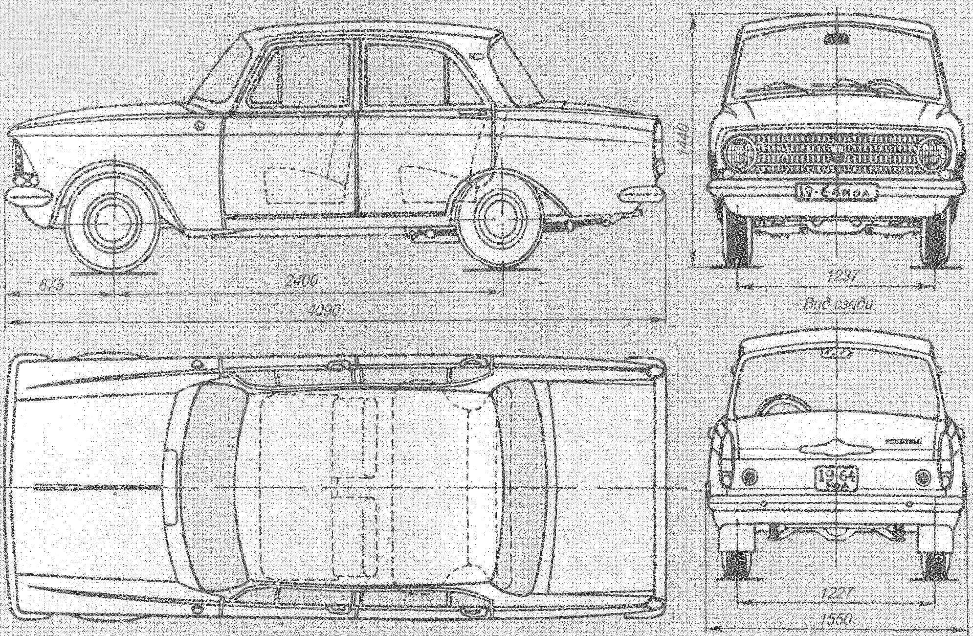 Геометрическая схема автомобиля «Москвич-408»