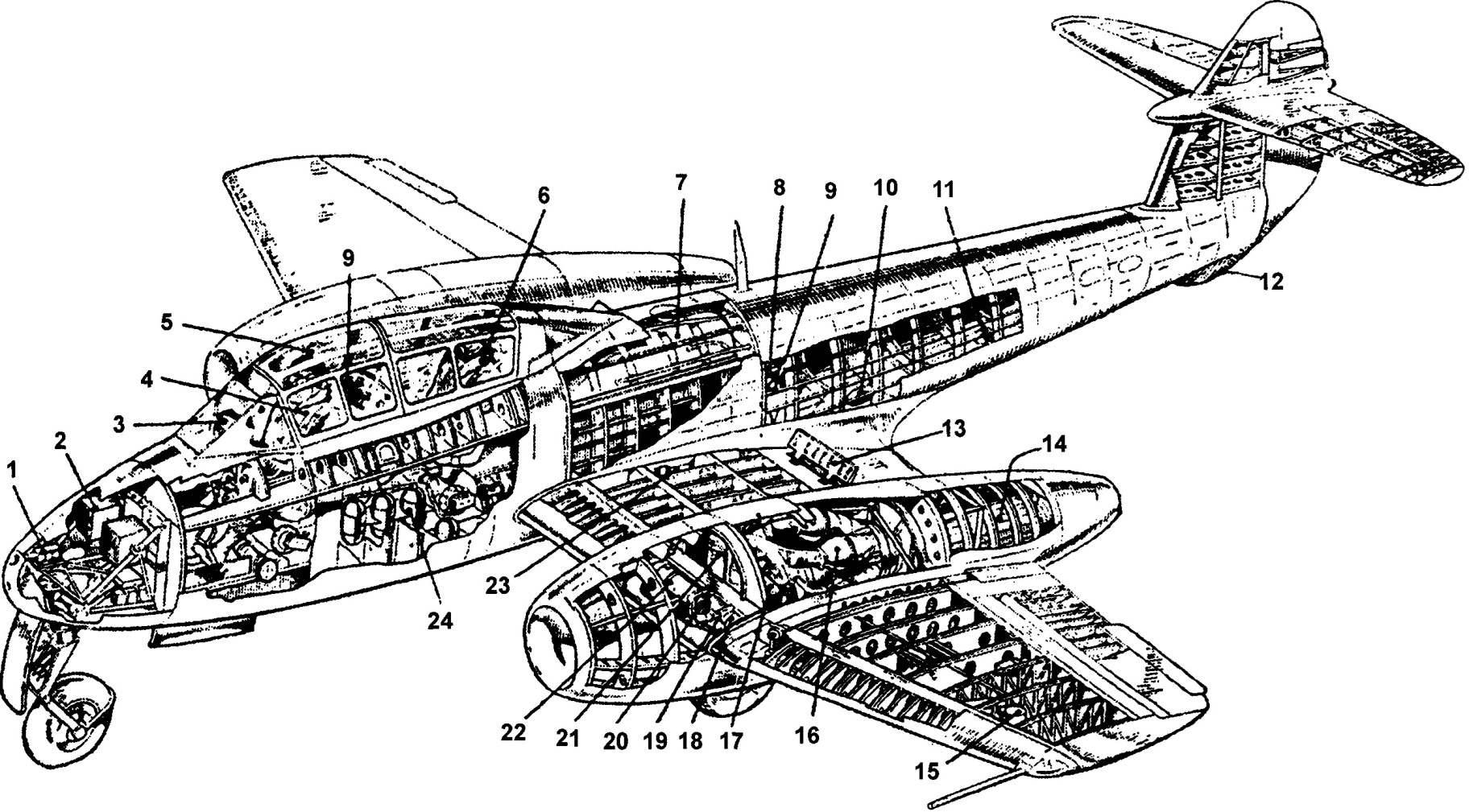 Компоновка двухместного учебно-тренировочного самолёта «Метеор» T.VII