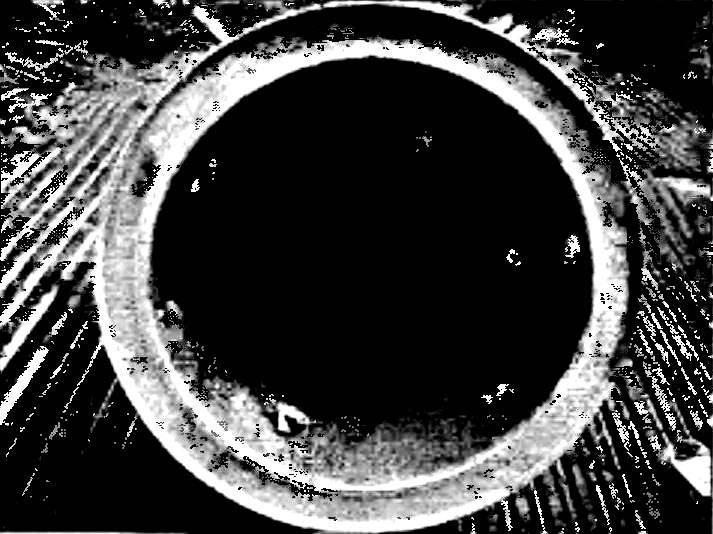 Колокол — вид снизу; внутри по центру — носик насоса; сбоку вверху — сопло гидроразрыхлителя.