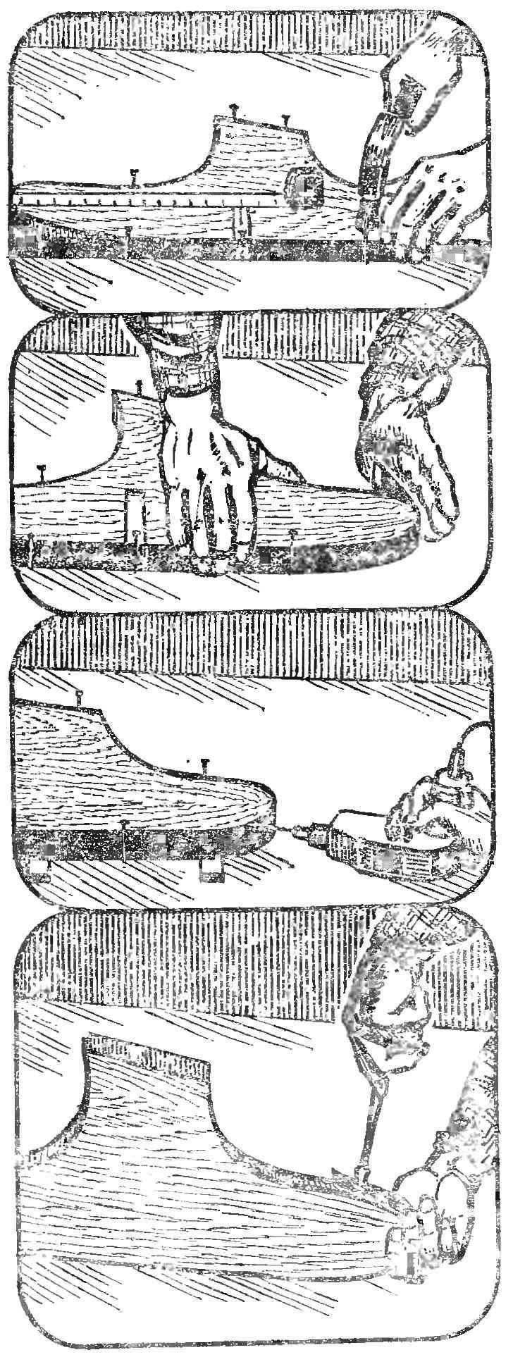 Рис. 3. Последовательность операций по монтажу оковки.