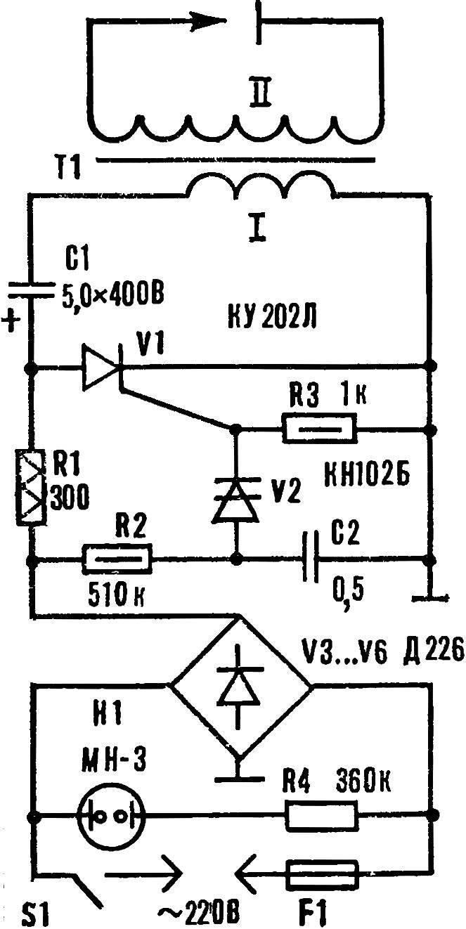 Рис. 1. Принципиальная схема электронного разрядника.