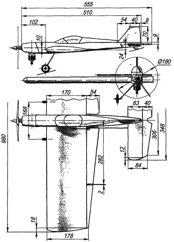Геометрическая схема пилотажной учебно-тренировочной авиамодели