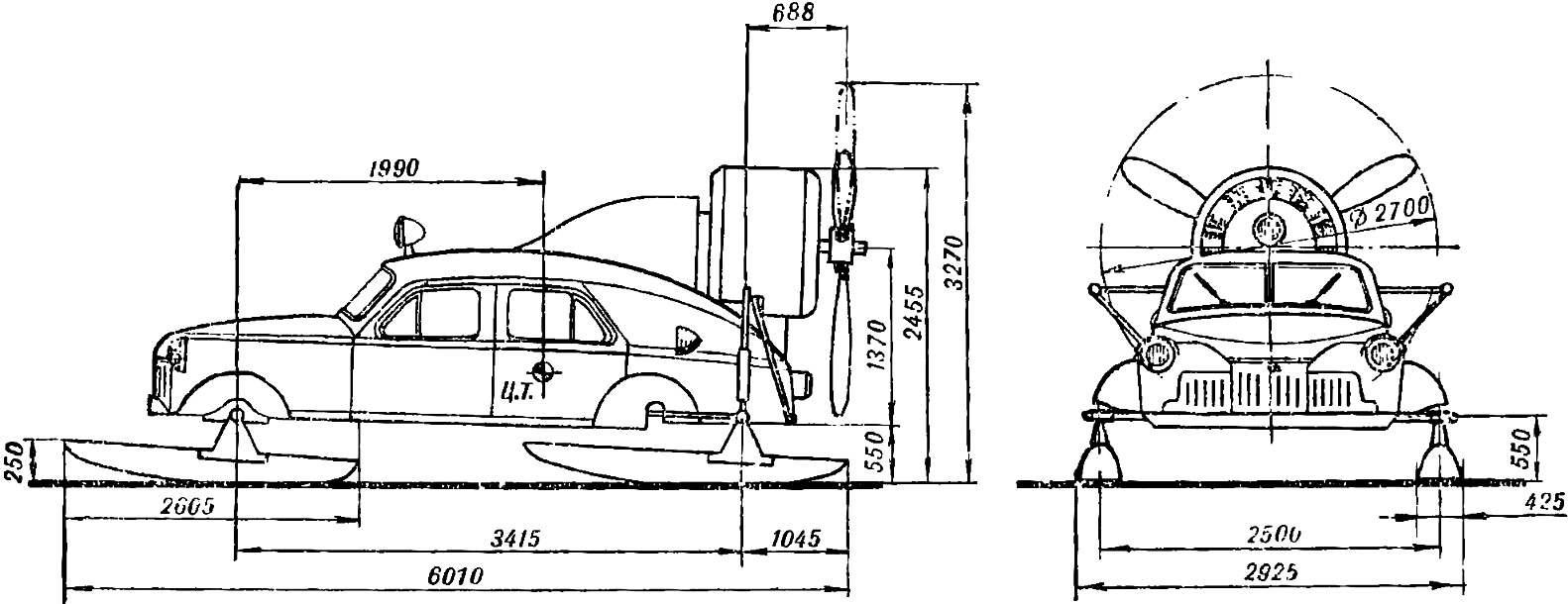 Рис. 1. Общий вид и габаритные размеры аэросаней «Север-2».