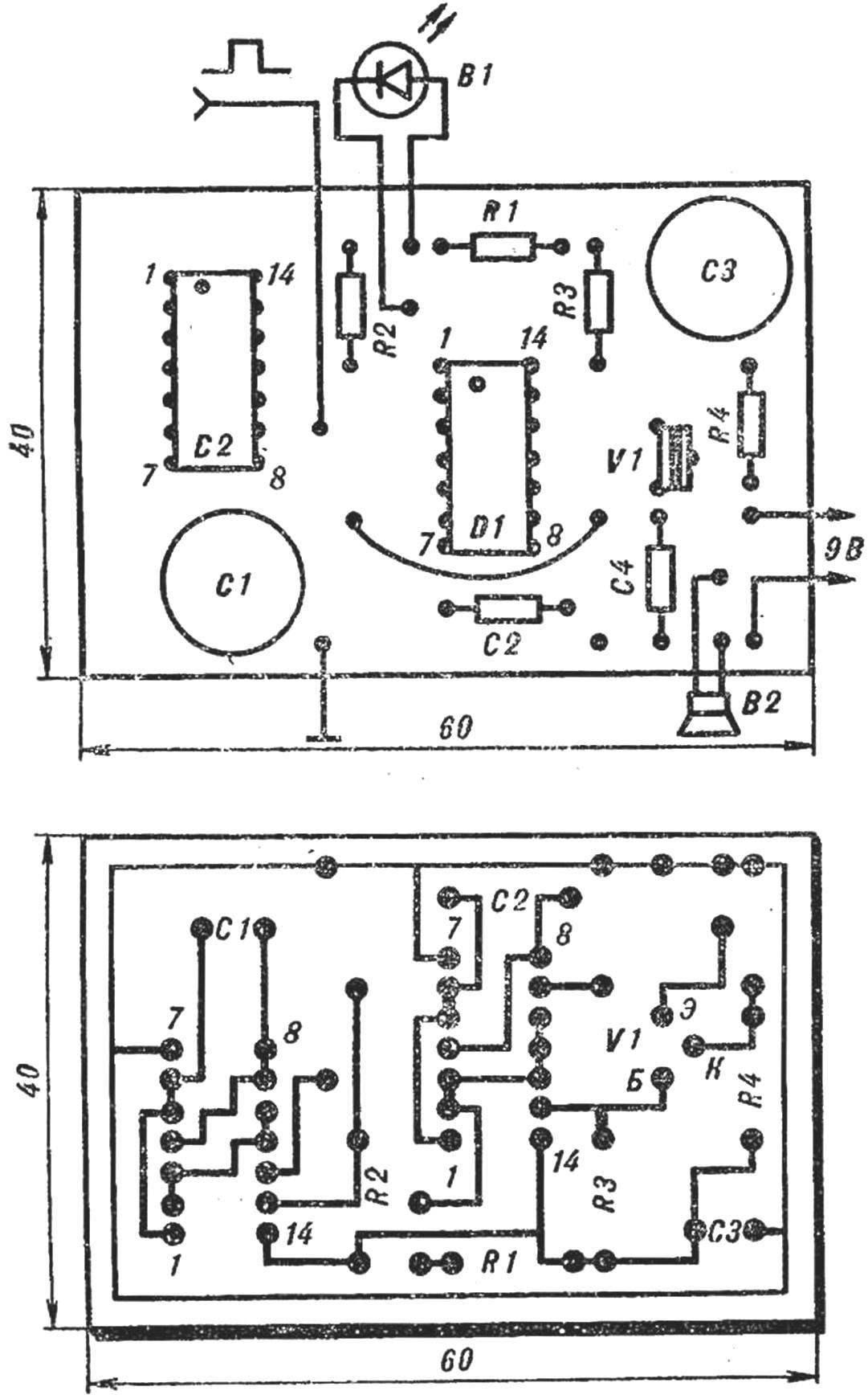 Рис. 4. Печатная плата с расположением деталей генератора с превывистым сигналом