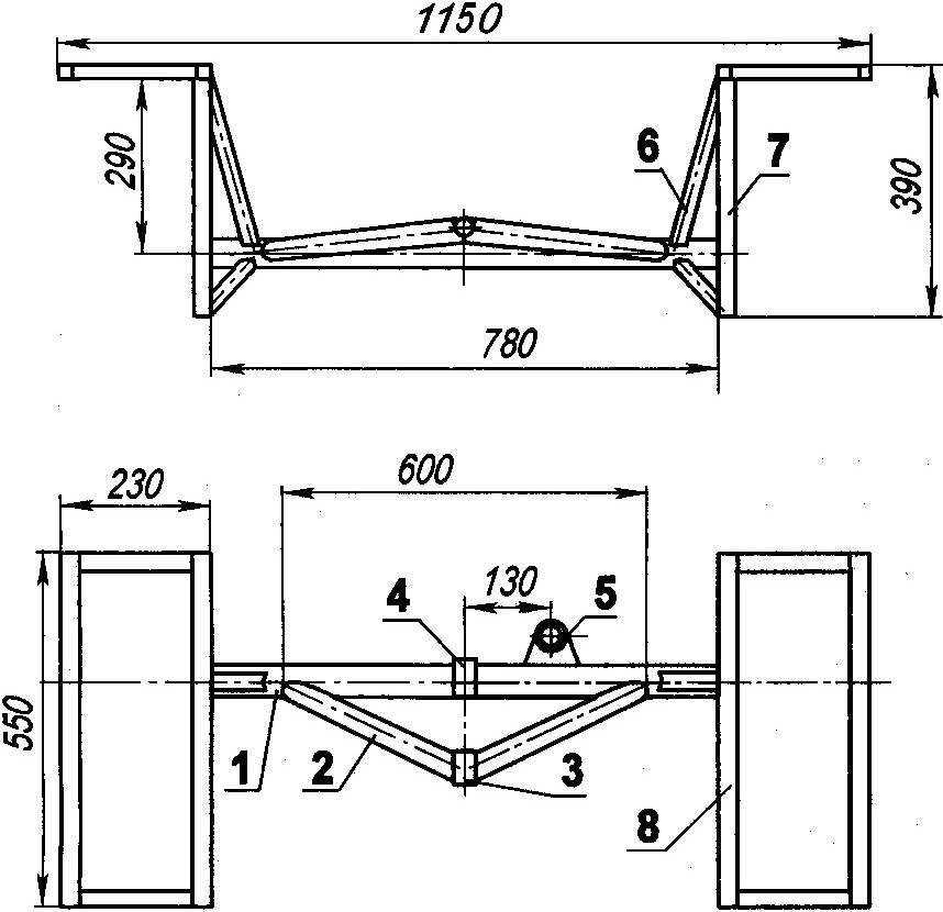 Задний мост (материал деталей — сталь)