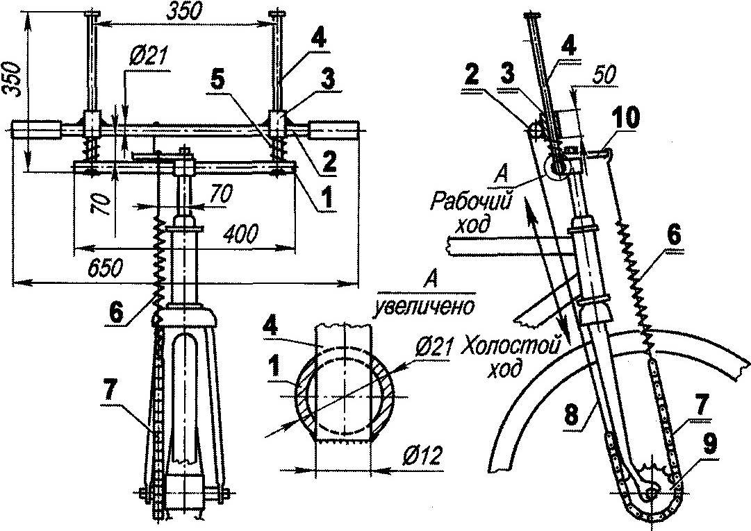 Рис. 2. Подрессоренный руль — дополнительный ручной привод велосипеда