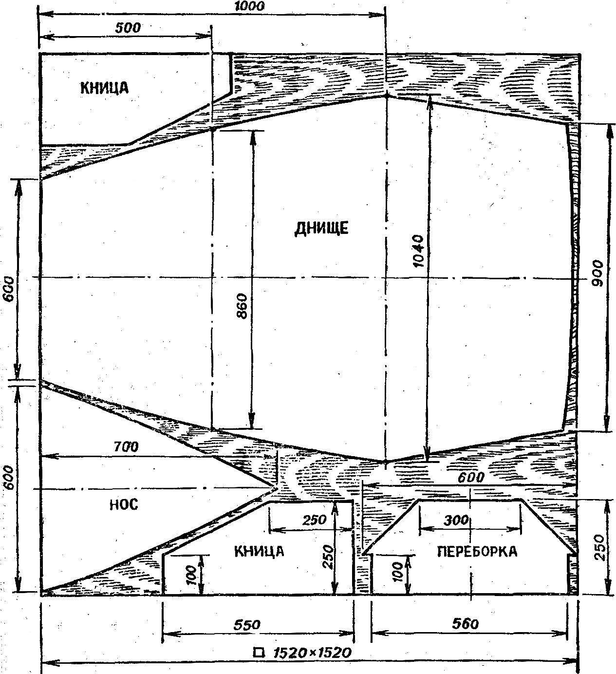 Рис. 8. Заготовки элементов корпуса и схема их раскроя из листа фанеры.