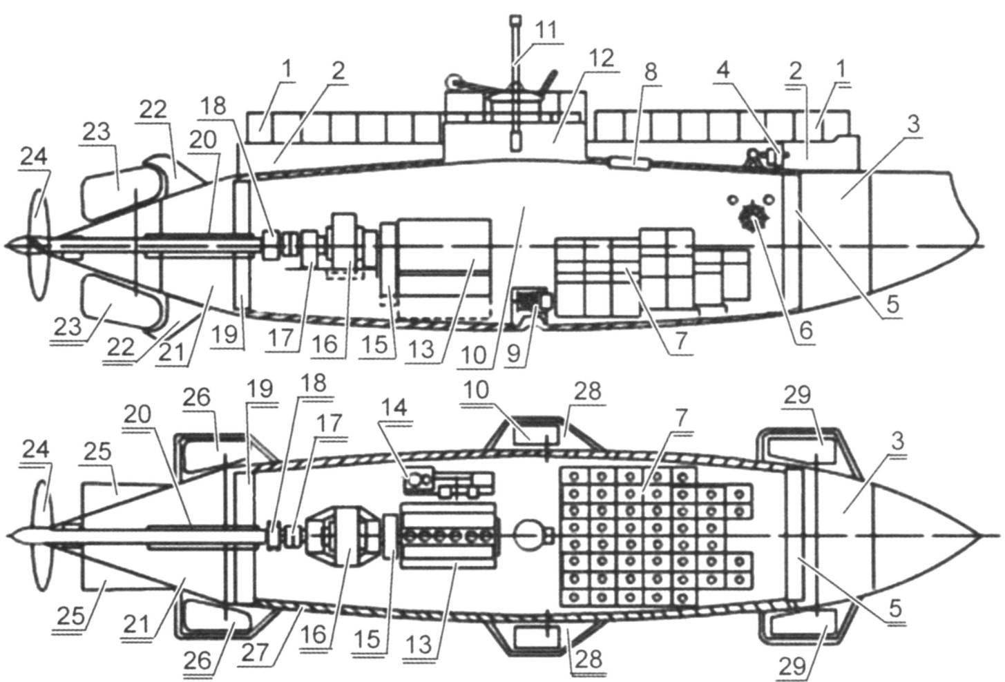 Схема подводной лодки «Дельфин»