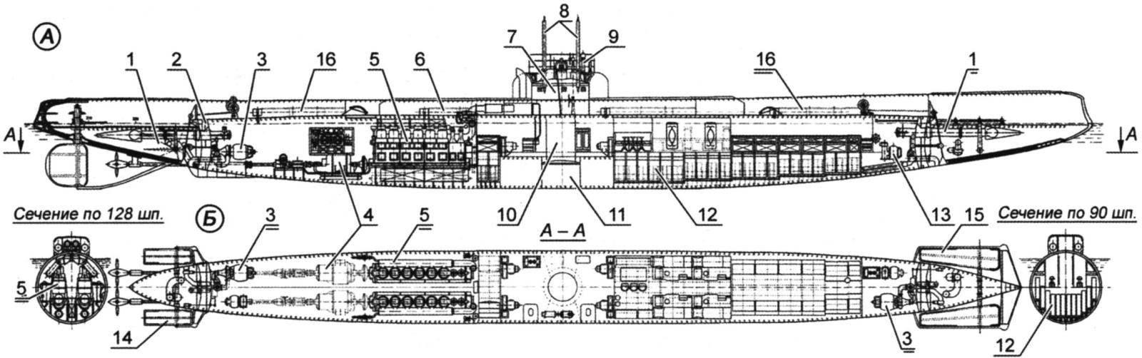 Подводная лодка «Морж» (проектный чертёж)