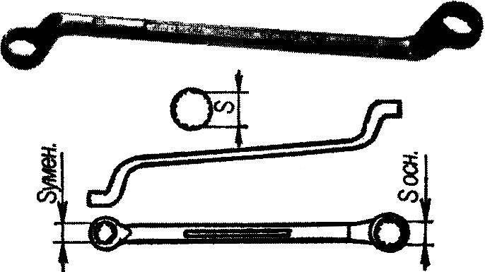 Двойной кольцевой (накидной) изогнутый ключ.