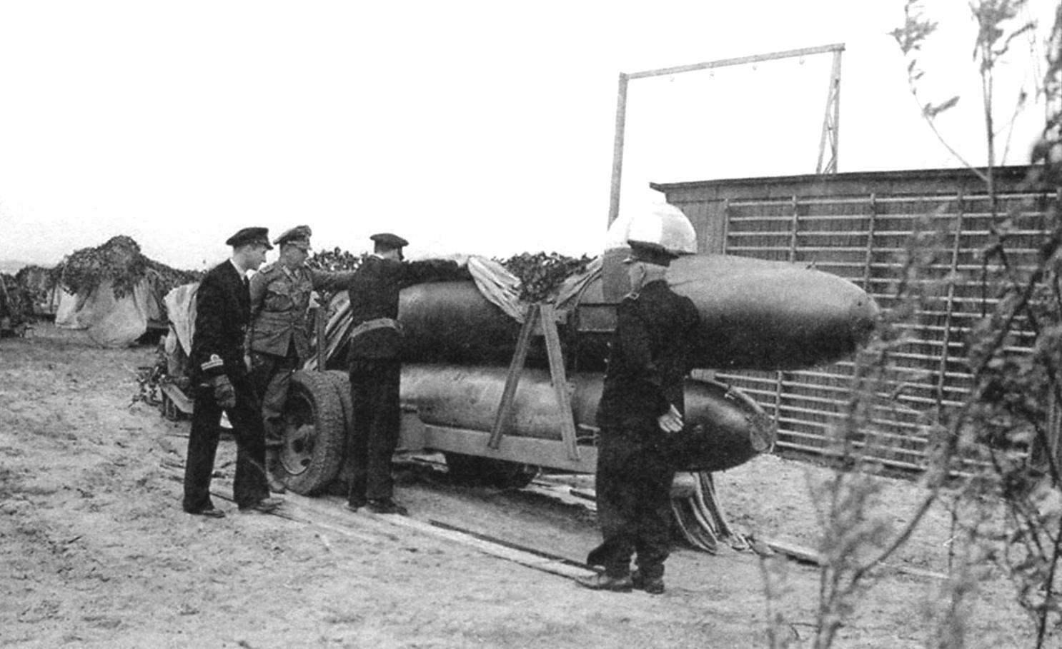 Торпеда Neger приготовлена к транспортировке на автомобильном прицепе