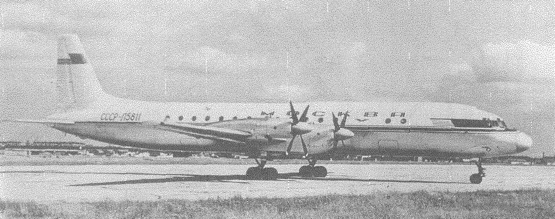 Первый прототип самолета Ил-18 с двигателями НК-4