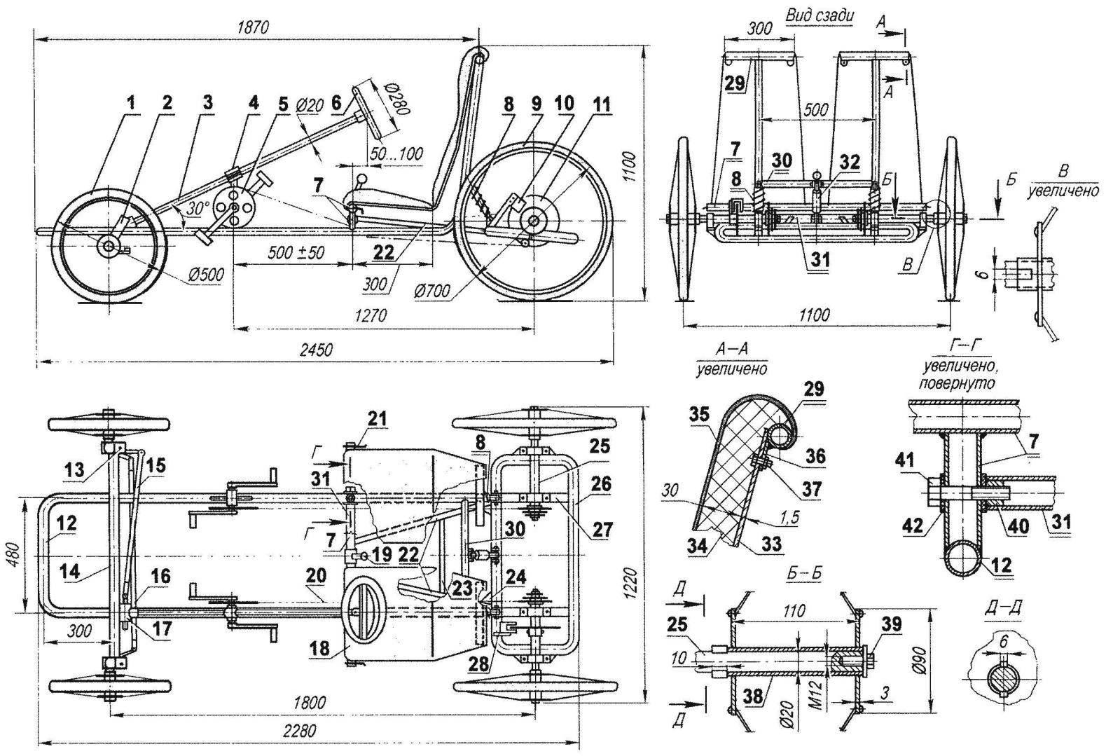 Двухместный, четырехколесный, двухприводной веломобиль с мягкой подвеской всех колес