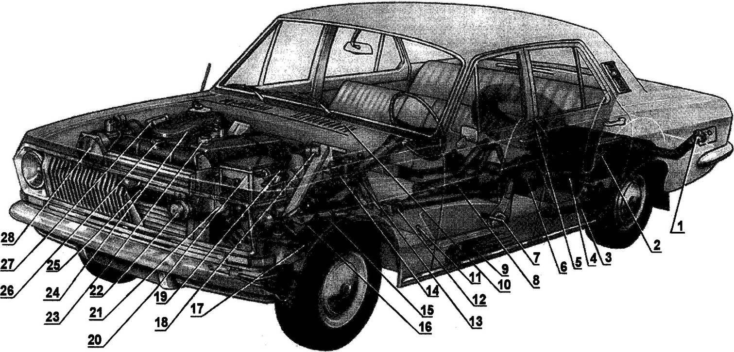 Основные узлы и агрегаты ГАЗ-24