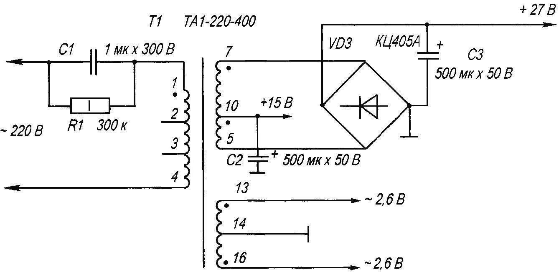Электрическая схема включения трансформатора ТА1-220-400 в сеть 220 В 50 Гц