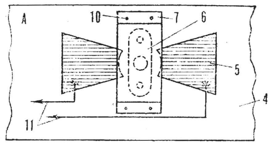 А — вид на выключателя снизу (повернуто на 90°).