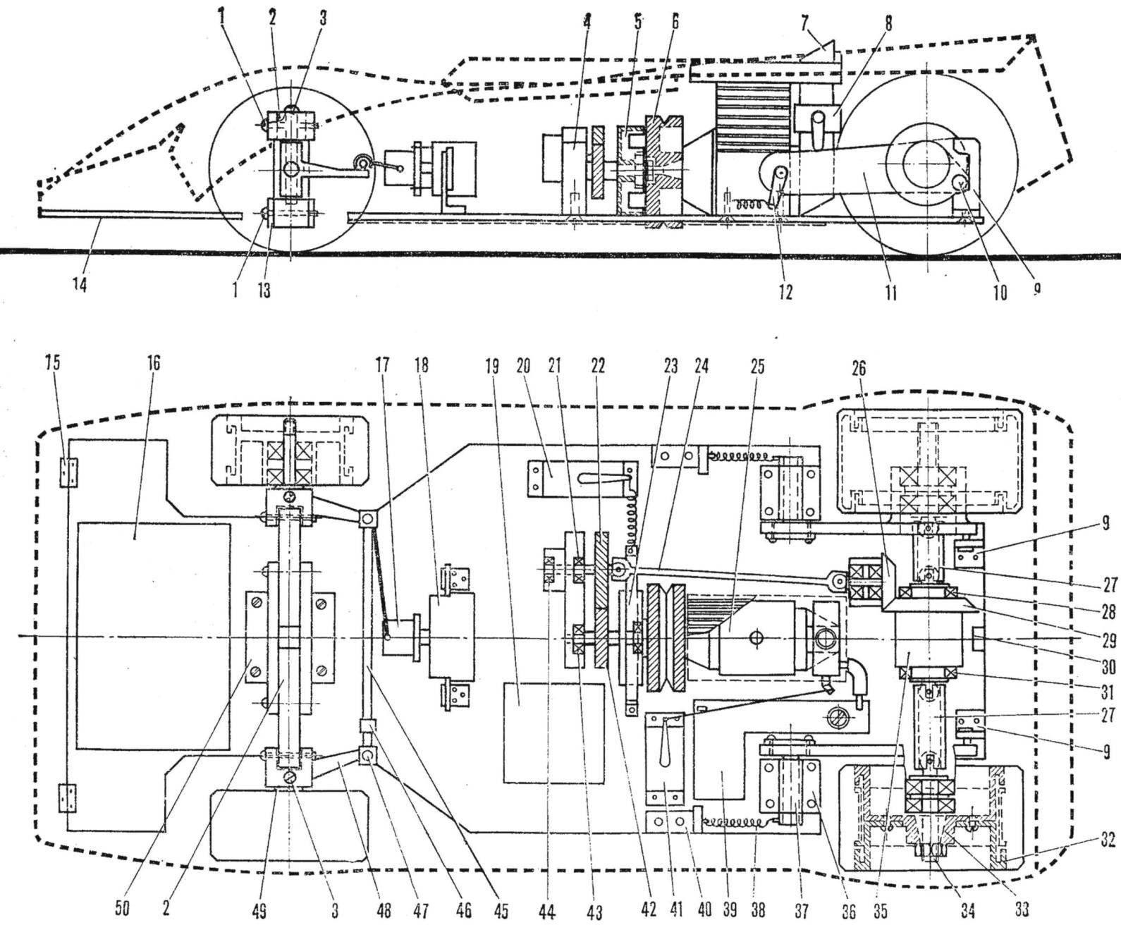 Рис. 2. Компоновочная схема скоростной радиоуправляемой модели Е. Петрова
