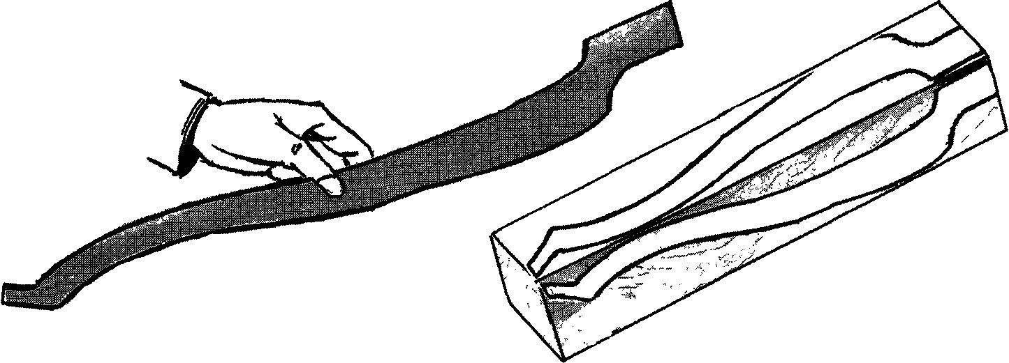 Рис.1. Шаблон для гнутой ножки столика (фанера, s10) и его использование на заготовке.