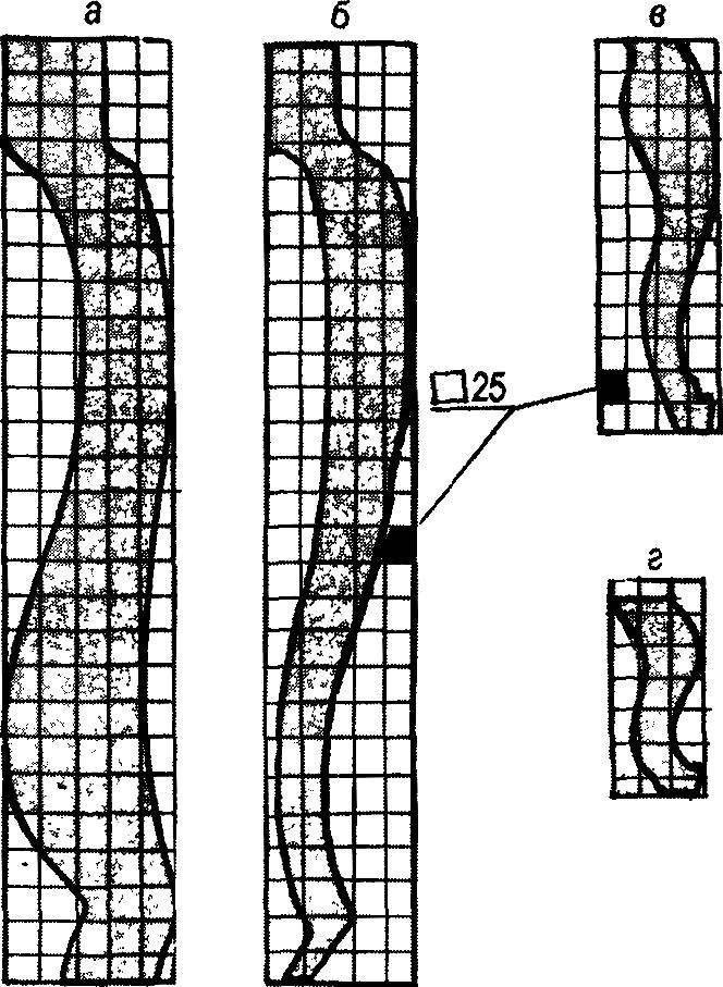 Рис. 3. Основные контуры шаблонов на масштабной сетке: