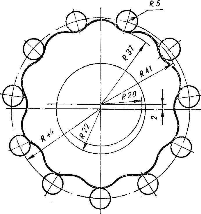 Рис. 4. Схема зацепления реборды с цевками.
