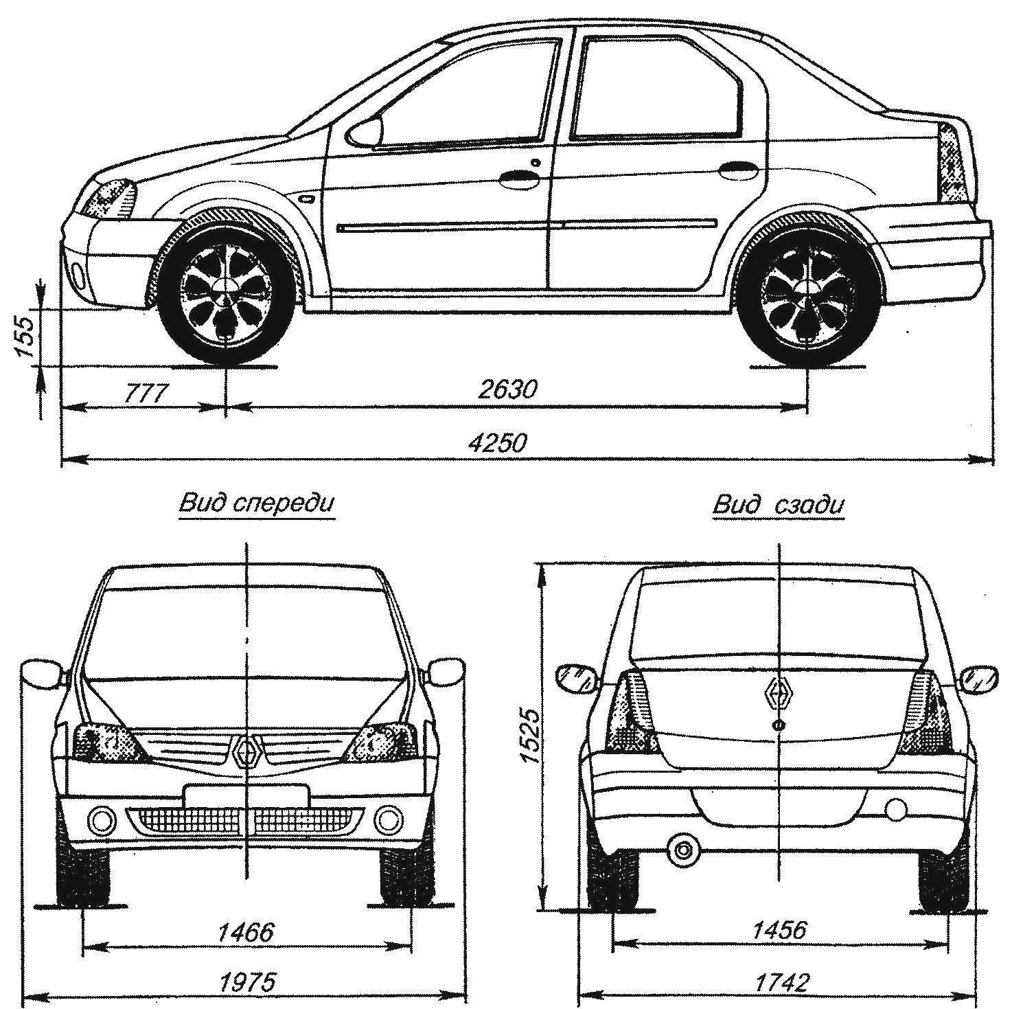 Геометрическая схема автомобиля Renault Logan