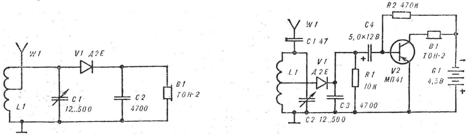Р и с. 2. Принципиальные схемы детекторного и транзисторного приемников (L1—2X100 = 200 витков провода ПЭЛ 0,31 на каркасе Ø 20 мм).