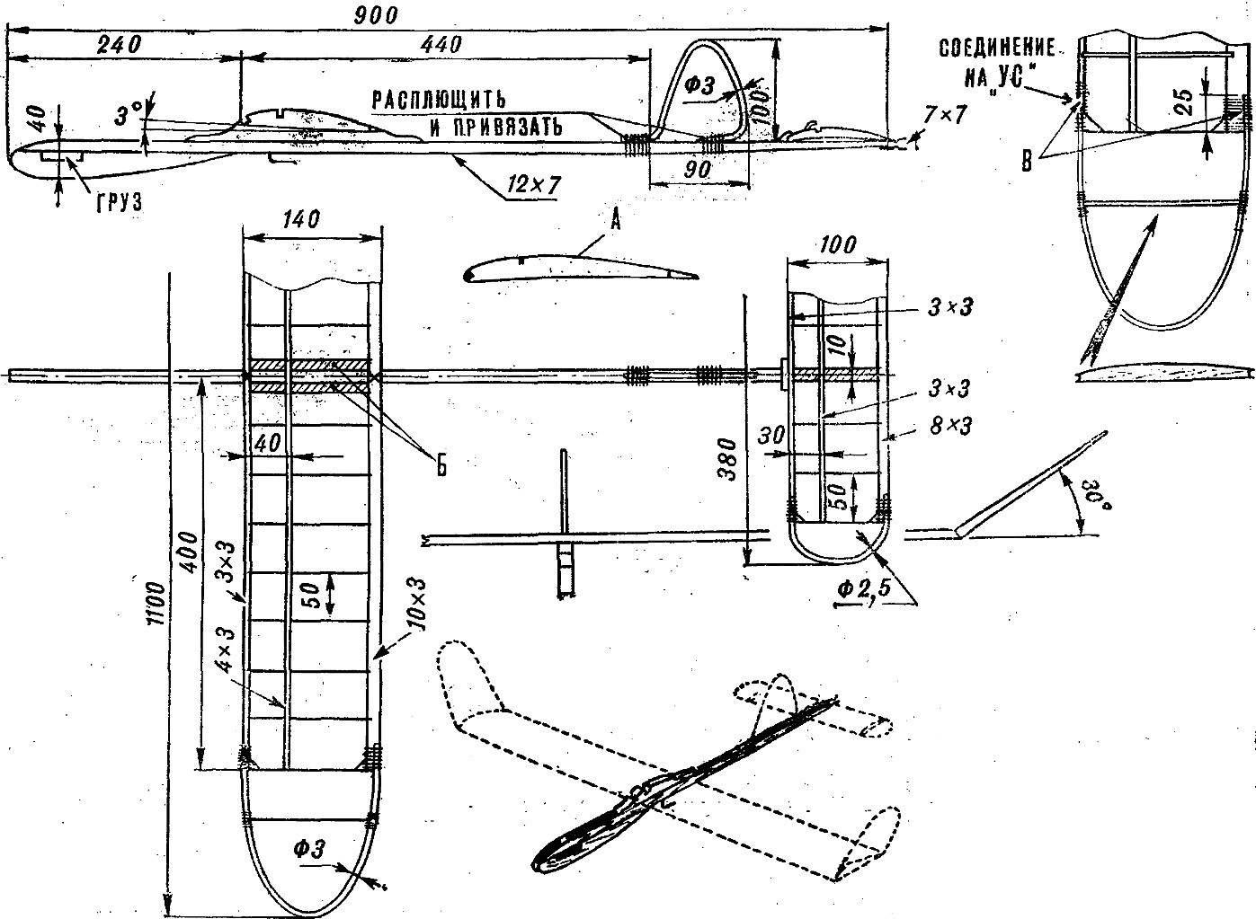 Рис. 1. Схема учебно-тренировочной модели планера