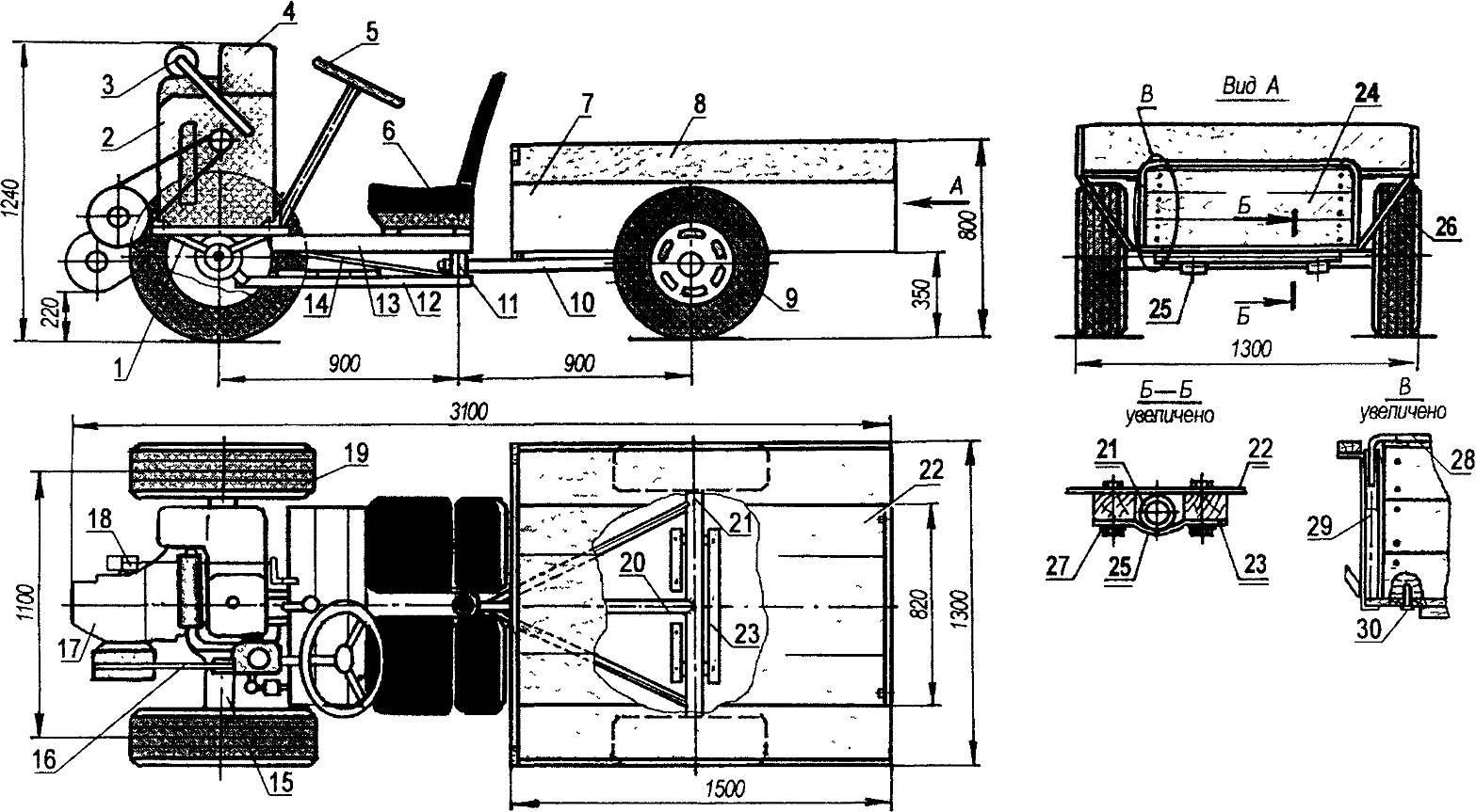 Мини-грузовик с ломающейся рамой — спарка мототягача и грузовой тележки: