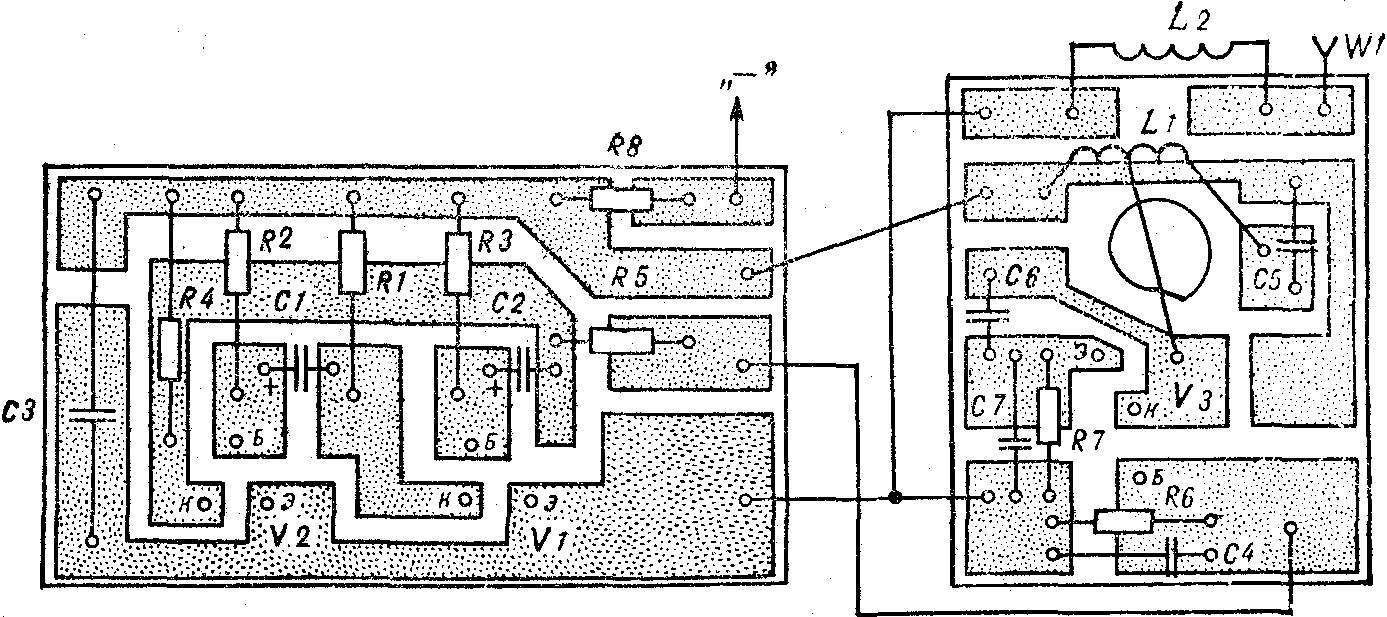 Рис. 3. Печатные платы маломощного передатчика (М 1 : 1).