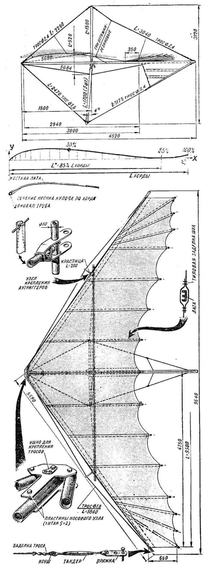 Рис. 1. Общий вид дельтаплана «Альбатрос» сбоку и сверху.