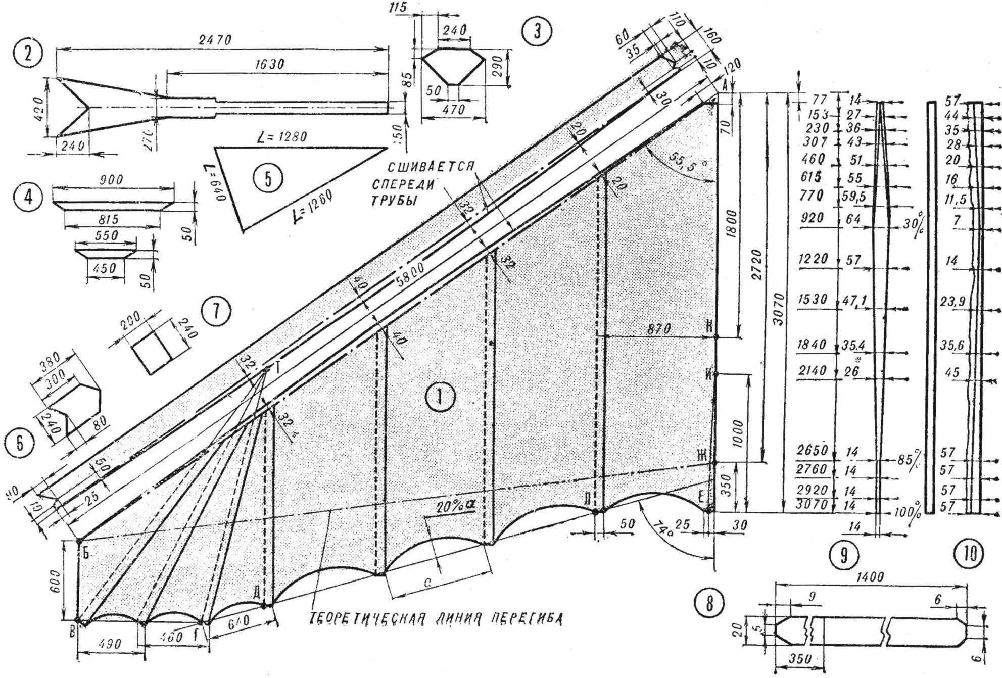 Рис. 3. Построение купола и его детали