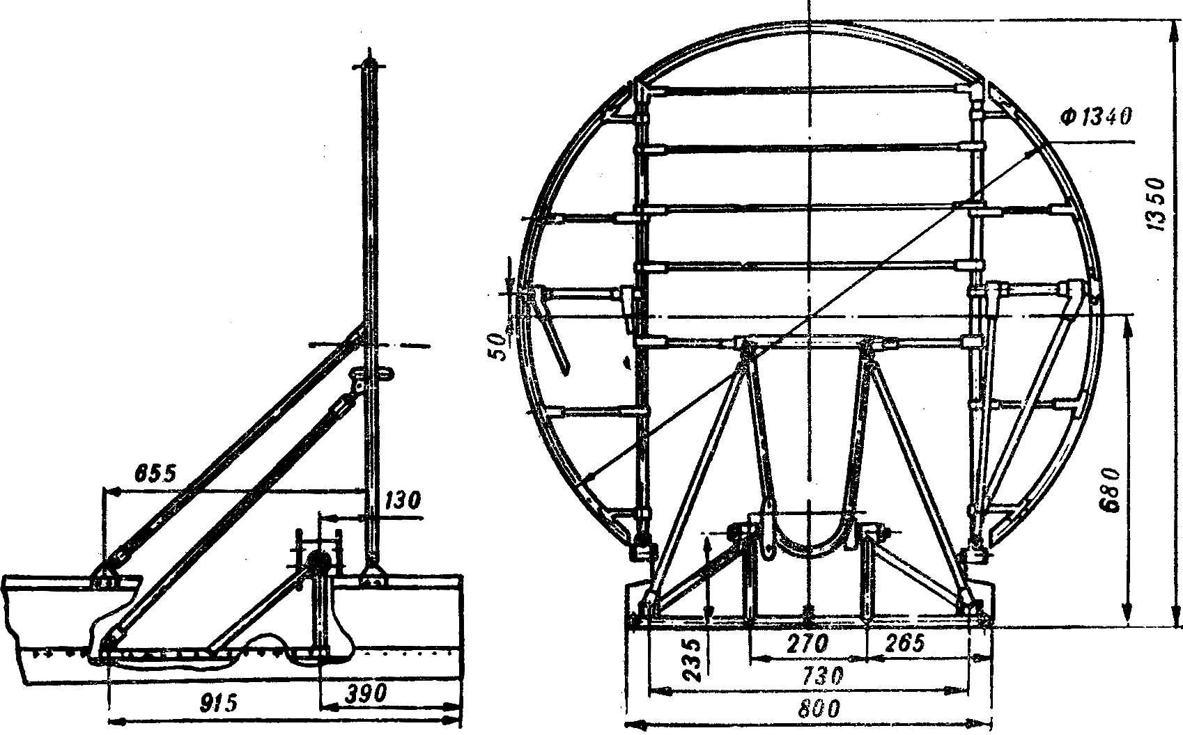 Рис. 3. Конструктивная схема ограждения воздушного винта.