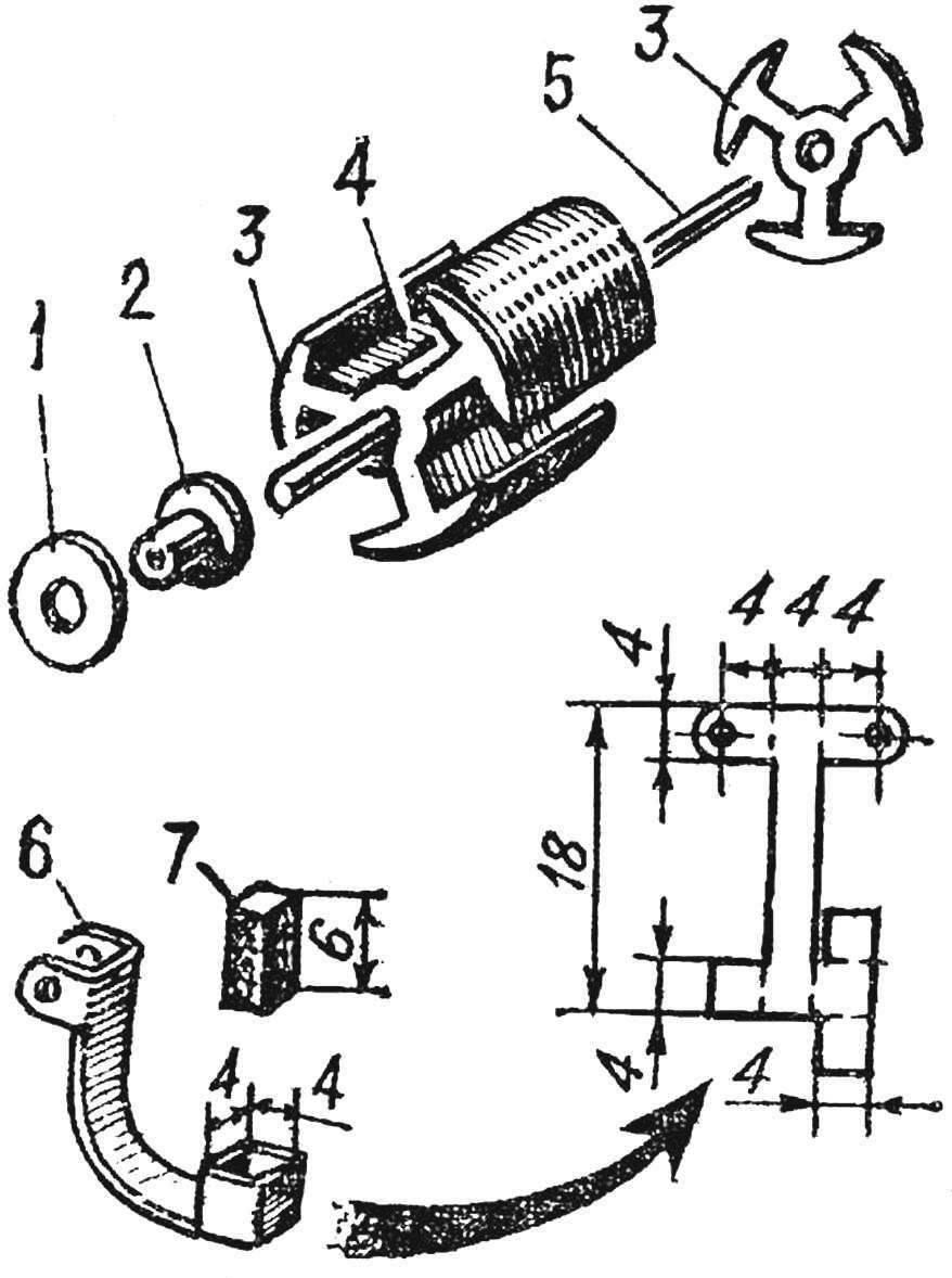 Рис. 3. Переделка якоря и изготовление щеткодержателя